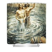 Christ Being Baptised Shower Curtain