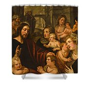 Christ Blessing The Children Shower Curtain