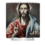 Christ Blessing, The Saviour Of The World Shower Curtain