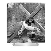 Christ Carrying Cross, Vadito, New Mexico, March 30, 2016 Shower Curtain