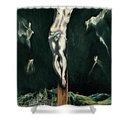 Christ Crucified With Toledo In The Background Shower Curtain