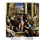Christ Driving The Traders From The Temple 1576 Shower Curtain