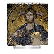 Christ Holds Bible In Mosaic At Chora Church Istanbul Turkey Shower Curtain