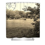 Christ In The Field Sepia Shower Curtain