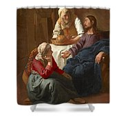 Christ In The House Of Martha And Mary Shower Curtain