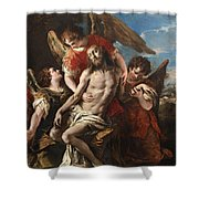 Christ Mourned By Three Angels Shower Curtain