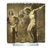 Christ On The Cross And The Good Thief Shower Curtain