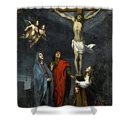 Christ On The Cross With Saint John And Mary Magdalene Shower Curtain