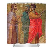 Christ On The Road To Emmaus Fragment 1311 Shower Curtain