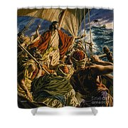 Christ On The Sea Of Galilee Shower Curtain by Jack Hayes