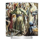 Christ Removing The Money Lenders From The Temple Shower Curtain
