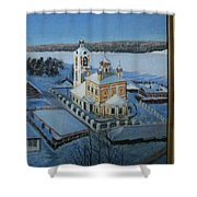 Christ Risen Church In Ples, Ivanovo Region Shower Curtain