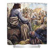 Christ Teaching Shower Curtain by English School