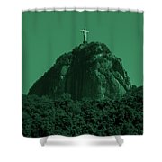 Christ The Redeemer In Green Sky Shower Curtain