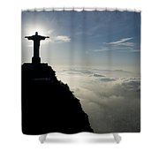 Christ The Redeemer Statue At Sunrise Shower Curtain