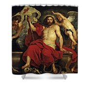 Christ Triumphant Over Sin And Death Shower Curtain