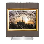 Christellerata L A S With Decorative Ornate Printed Frame. Shower Curtain
