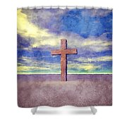 Christian Cross Landscape Shower Curtain