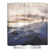 Christian Cross On Mountain Shower Curtain