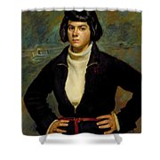 Christian Viasto - A Canal Boat Woman Shower Curtain