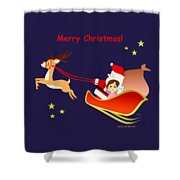 Christmas #3 And Text Shower Curtain