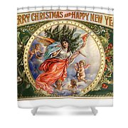 Christmas Angel Label Shower Curtain