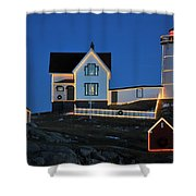 Christmas At The Nubble  Shower Curtain