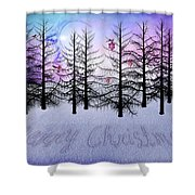 Christmas Bare Trees Shower Curtain
