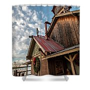Christmas Barn On The Lake Shower Curtain