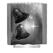 Christmas Bells In Black And White Shower Curtain