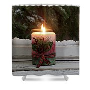 Christmas Candle Glowing On Window Sill With Snowy Evergreen Bra Shower Curtain