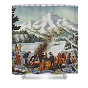 Christmas Card Depicting A Pioneer Christmas Shower Curtain