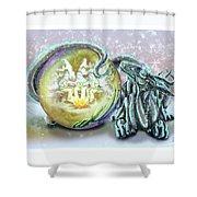 Christmas Card Dragon 2015 Shower Curtain