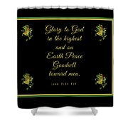 Christmas Card With Scripture - Luke 2 14 Shower Curtain