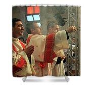 Christmas Celebration At Nativity Church Shower Curtain