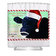 Christmas Cow Greeting Shower Curtain