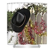 Christmas Cowboy Hat On Fence - Merry Christmas  Shower Curtain