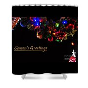 Christmas Decoration Greeting  Shower Curtain
