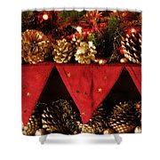 Christmas Decorations Of Garlands And Pine Cones Shower Curtain