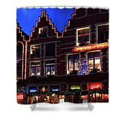 Christmas Decorations On Buildings In Bruges City Shower Curtain