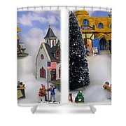 Christmas Display - Gently Cross Your Eyes And Focus On The Middle Image Shower Curtain