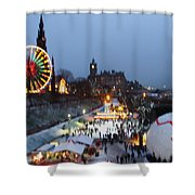 Christmas Fair Edinburgh Scotland Shower Curtain