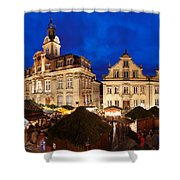 Christmas Fair In Front Of Town Hall Shower Curtain