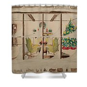 Christmas Fireside Shower Curtain