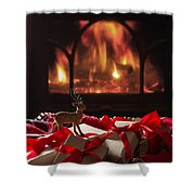 Christmas Gifts By The Fireplace Shower Curtain