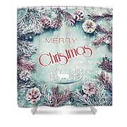 Christmas Greeting Card, By Imagineisle Shower Curtain