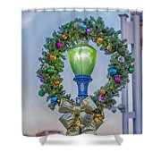 Christmas Holiday Wreath With Balls Shower Curtain