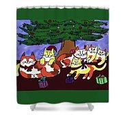 Christmas Kitties  Shower Curtain