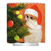 Christmas Kitty Shower Curtain