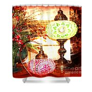 Christmas Lamps Shower Curtain